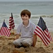 Young Boy Sits Among American Flags Planted in Sand — Stock Photo