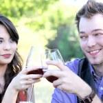 Couple Clinking Wine Glasses — Stock Photo