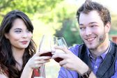 Couple Clinking Wine Glasses — Stock Photo