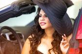Young Glamorous Woman Wearing Black Floppy Hat — Stock Photo