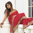 Indian Woman in Saree in Repose — Lizenzfreies Foto