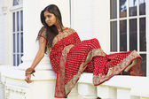 Indian Woman in Saree in Repose — Stock Photo
