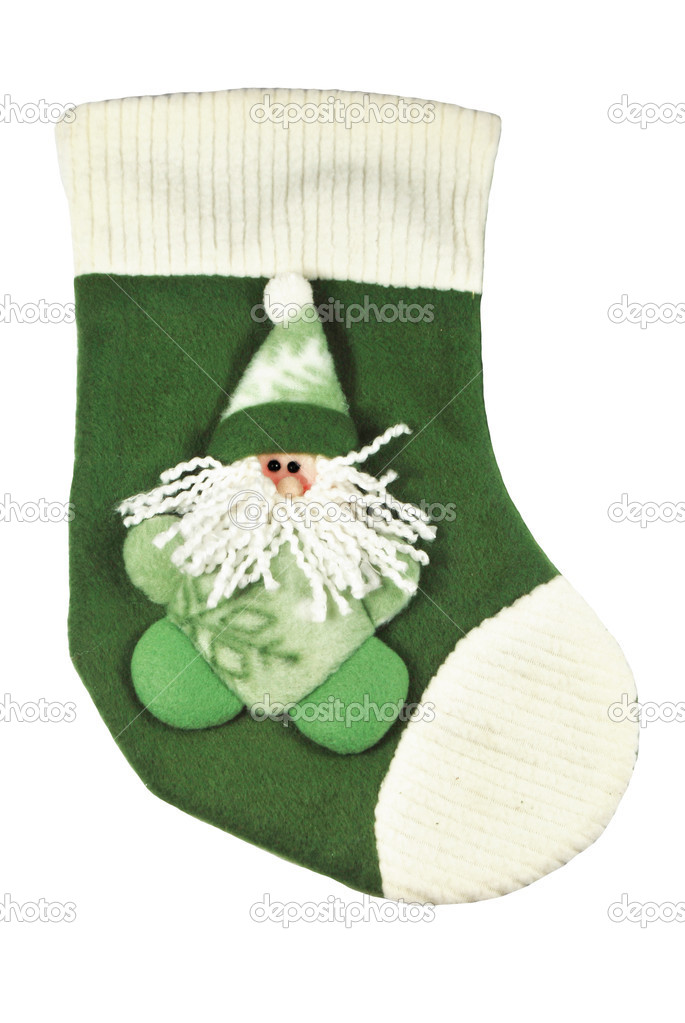 Christmas sock waiting to be filled with presents, white isolated — Stock Photo #16762107