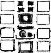 Grunge elle çizilmiş çerçeve kümesi — Stok Vektör
