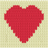 Knitted heart — Stock Vector