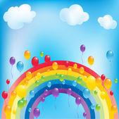 Rainbow and balloons — Stock Vector