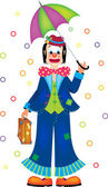 Clown con ombrello — Vettoriale Stock