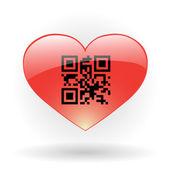 Corazón con código qr — Vector de stock