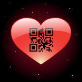 Kod qr dla serca — Wektor stockowy