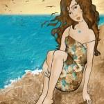 Girl near the sea — Stock Photo