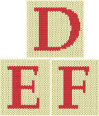 Set of knitted silhouette figures letters — Stock Vector