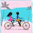 Stock Vector: Two children riding on a tandem