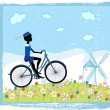 Silhouette of boy on bike — Stock Vector