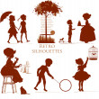 Set of retro silhouettes Children — Stock Vector