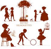 Set of retro silhouettes Children — Stock Vector