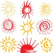 Set of sun signs — Stock Vector