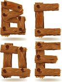 Letras de madera — Vector de stock