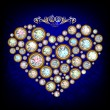 Heart, made with shiny diamonds — Image vectorielle