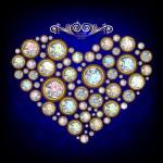 Heart, made with shiny diamonds — Stock Vector