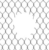 Chain fence with a hole — Stock Vector