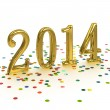 3D Gold Year 2014 on white background with confetti — Stock Photo #31439949