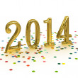 Stock Photo: 3D Gold Year 2014 on white background with confetti
