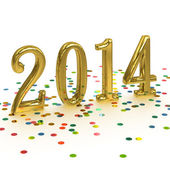 3D Gold Year 2014 on white background with confetti — Stock Photo