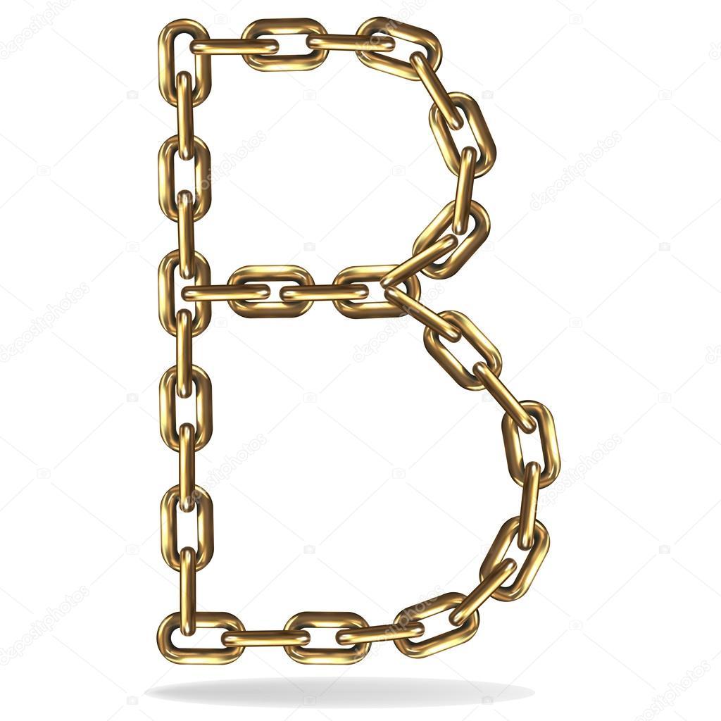 从一个白色背景上的金链字母 b 矢量插画 - 图库插图