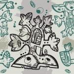 Decorative Azteck tree background — Stock Vector