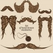 Collection of mustache with old clock — Imagen vectorial