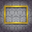 Golden frame on gray wallpaper — Grafika wektorowa