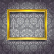 Golden frame on gray wallpaper — Stock Vector