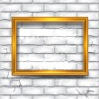 Wooden photo frame on brick wall — Stock Vector