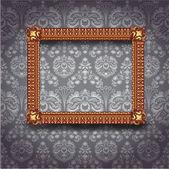Frame on gray wallpaper — Stock Vector