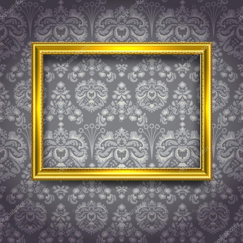 goldener rahmen auf graue tapete stockvektor ola ola. Black Bedroom Furniture Sets. Home Design Ideas