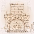 Hand drawn fireplace — Stock Vector