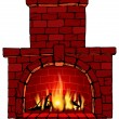 Vector illustration of fire in fireplace — Vecteur