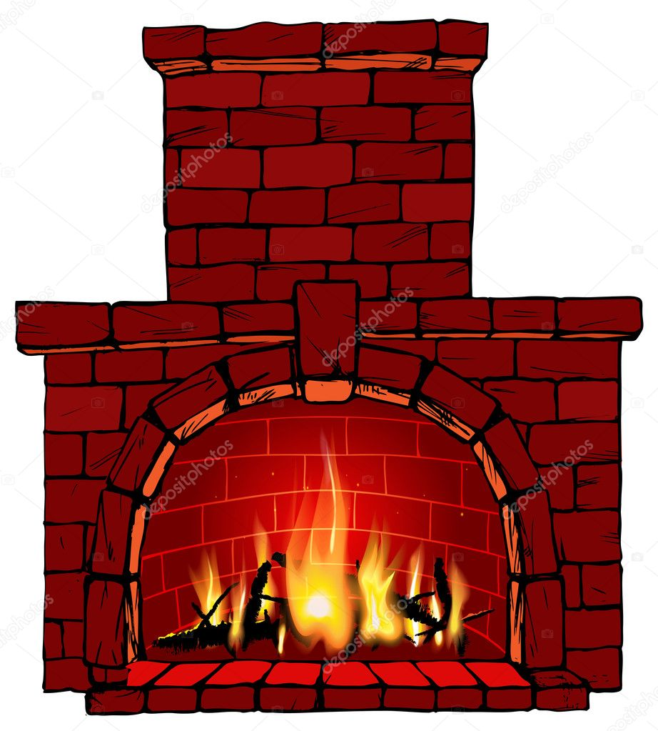 vector illustration of fire in fireplace stock vector ola ola 34303425. Black Bedroom Furniture Sets. Home Design Ideas