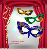 Red opened theater curtain with three luxury masks for masquerade — Stock Vector