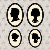 Family portraits silhouettes — Stock Vector
