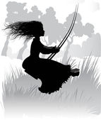 Vector Silhouette of a little girl on a swing — Stock Vector