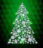 Christmas Tree made of gems — Vector de stock
