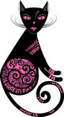 Vector illustration of a cat with decorative elements — Stock Vector