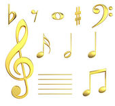 Musical notes in gold — Stock Photo