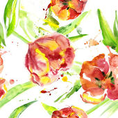Seamless watercolor with tulips — ストック写真