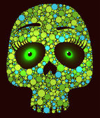 Skull made with colored green circles — Vector de stock