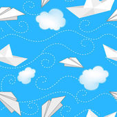 Background with paper ships, planes and clouds — Stock Vector