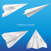 Set of origami planes — Stock Vector