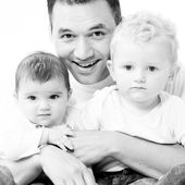 Dad with his children — Stock Photo