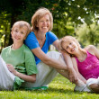 Happy family in the park — Foto Stock